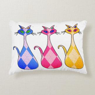 Retro Argyle Cats Accent Pillow