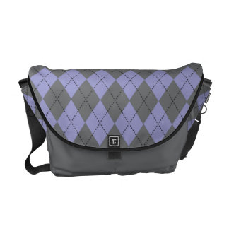 Retro Argyle Gray and Purple Courier Bags