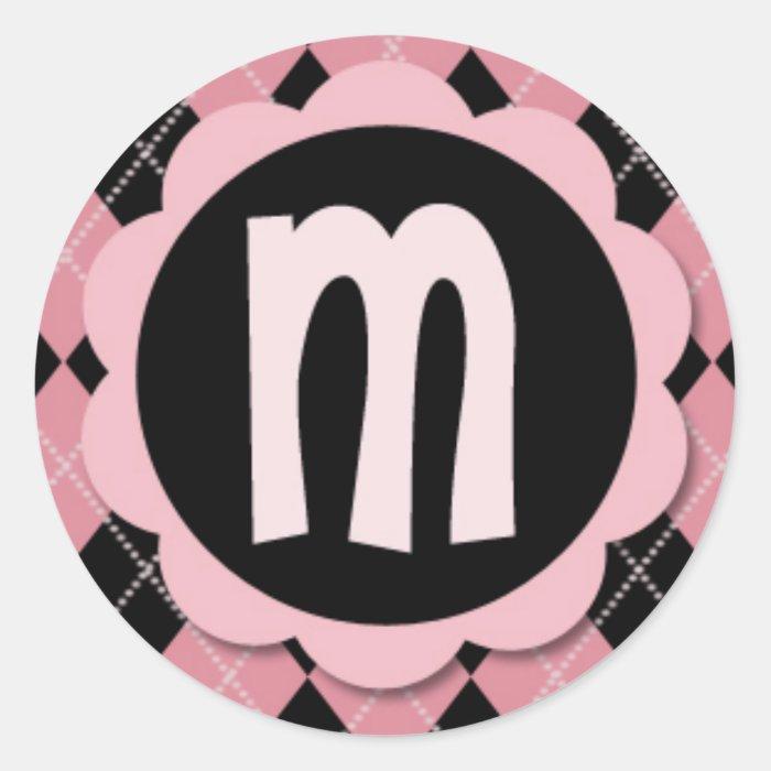 "Retro Argyle Monogram ""M"" Sticker"