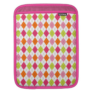 Retro Argyle Preppy Fun Happy Pink Lime Sleeve For iPads