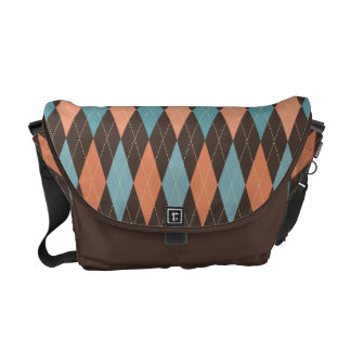 Retro Argyle Teal & Apricot on Chocolate Brown Courier Bags