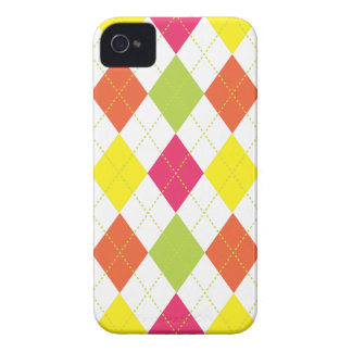 Retro Argyle Trendy Fun Hot Pink Lime Orange iPhone 4 Cover