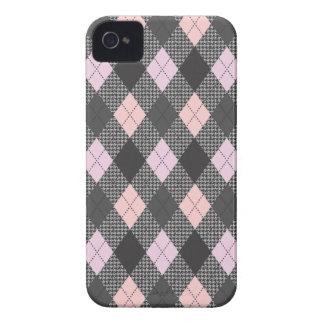 Retro Argyle Trendy Pink Herringbone Check Case-Mate iPhone 4 Cases