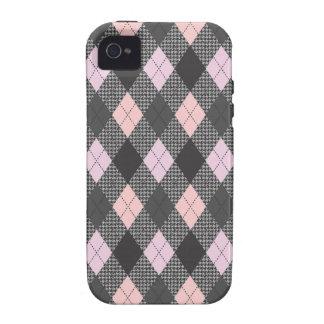 Retro Argyle Trendy Pink Herringbone Check Case-Mate iPhone 4 Covers