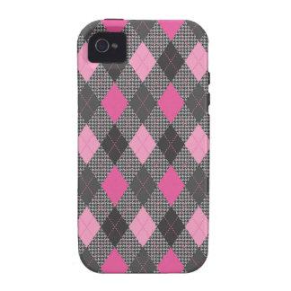 Retro Argyle Trendy Pink Herringbone Check Vibe iPhone 4 Cover