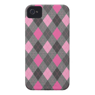 Retro Argyle Trendy Pink Herringbone Check iPhone 4 Case-Mate Case