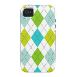 Retro Argyle Trendy Teal LIme Blue Fun iPhone 4 Cases