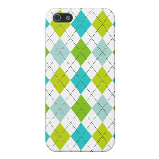 Retro Argyle Trendy Teal LIme Blue Fun Case For iPhone SE/5/5s