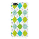 Retro Argyle Trendy Teal LIme Blue Fun iPhone 5 Cases