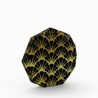 Retro Art Deco Black / Gold Shell Scale Pattern Acrylic Award