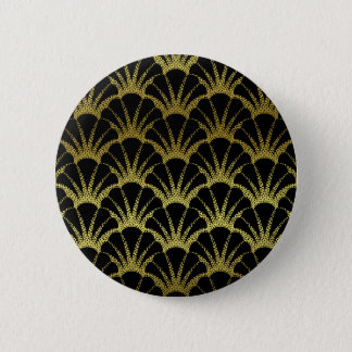 Retro Art Deco Black / Gold Shell Scale Pattern Button