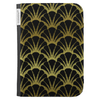 Retro Art Deco Black Gold Shell Scale Pattern Kindle Covers