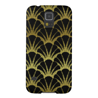 Retro Art Deco Black / Gold Shell Scale Pattern Galaxy S5 Cases