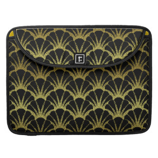 Retro Art Deco Black Gold Shell Scale Pattern Sleeves For MacBooks