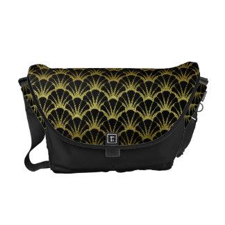 Retro Art Deco Black / Gold Shell Scale Pattern Messenger Bag