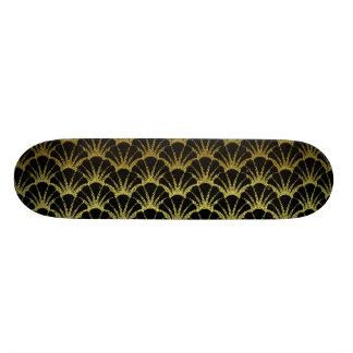 Retro Art Deco Black / Gold Shell Scale Pattern Skateboard Deck