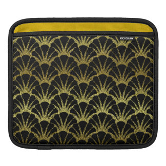 Retro Art Deco Black / Gold Shell Scale Pattern Sleeves For iPads