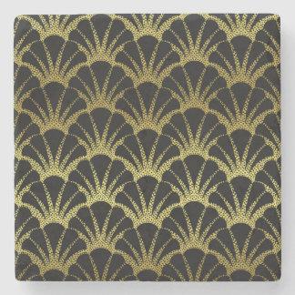 Retro Art Deco Black / Gold Shell Scale Pattern Stone Coaster