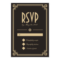 Retro Art Deco Frame Dark Wedding RSVP Card