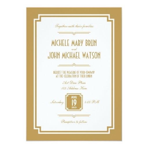 Retro Art Deco Gold Color Frame Wedding Invitation 5 X 7 Invitati