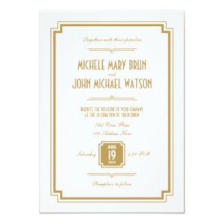 Retro Art Deco Gold Color White Wedding Invitation