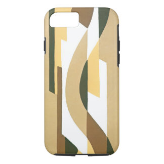 Retro Art Deco Jazz Brown Autumn Curve Pattern iPhone 7 Case