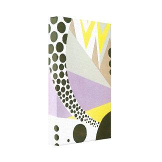 Retro Art Deco Jazz Polka Dots Zig Zag Pattern Canvas Print