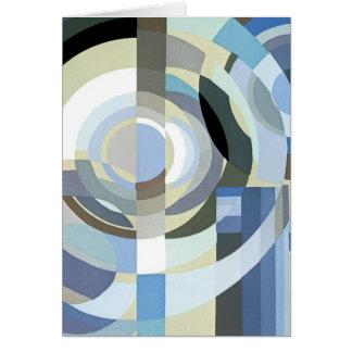 Retro Art Deco Jazz Vintage Blue Circles Pattern Greeting Card