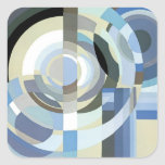 Retro Art Deco Jazz Vintage Blue Circles Pattern Square Sticker