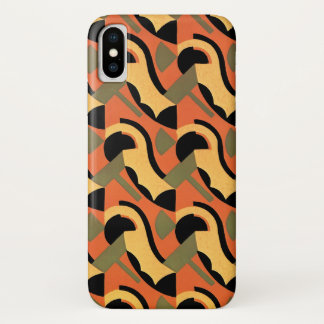 Retro Art Deco Jazz, Warm Curves Circles Geometric iPhone X Case