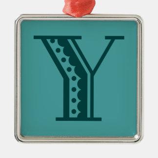 Retro art deco Mexican style letter monogram Y Metal Ornament