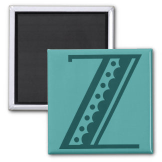 Retro art deco Mexican style letter monogram Z 2 Inch Square Magnet