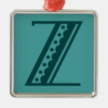 Retro art deco Mexican style letter monogram Z Christmas Tree Ornaments