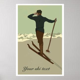 Retro art deco ski travel ad customizable poster