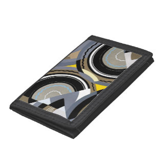 Retro Art Deco Vintage Abstract Circle Pattern Trifold Wallets