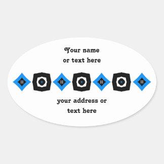 Retro art design to personalize oval sticker