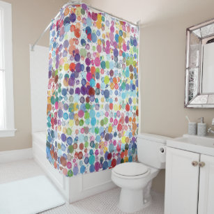 Retro Art Paint Rainbow Shower Curtain
