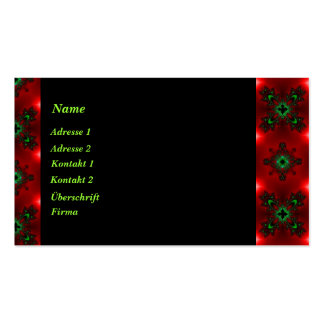 Retro Artdeco flowers in green blue black on red Business Card