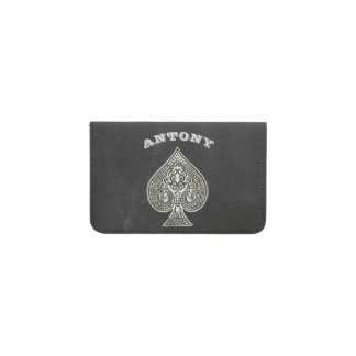 Retro Artistic Poker Ace Of Spades Personalized Business Card Holder