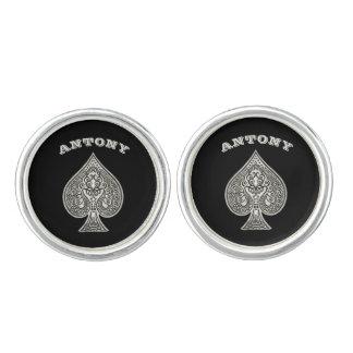 Retro Artistic Poker Ace Of Spades Personalized Cufflinks