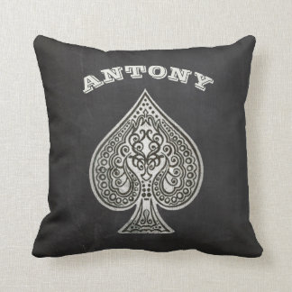 Retro Artistic Poker Ace Of Spades Personalized Throw Pillow