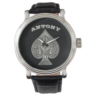 Retro Artistic Poker Ace Of Spades Personalized Wrist Watch