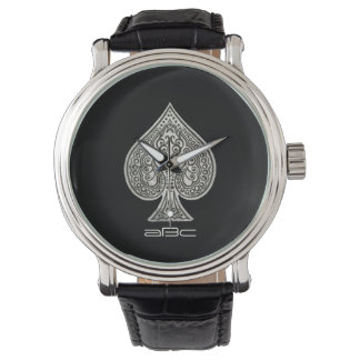 Retro Artistic Poker Ace Of Spades Personalized Wristwatch
