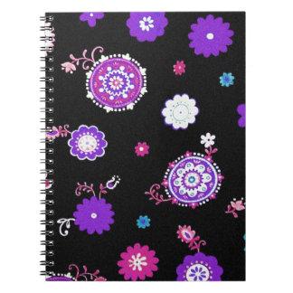 Retro Artsy Purple Flowers Notebooks