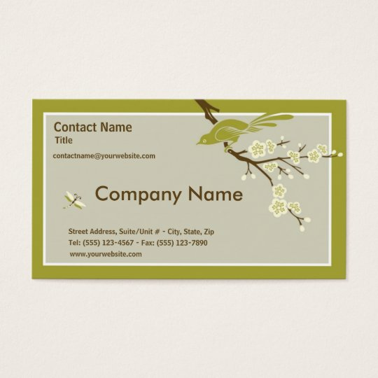 Retro Asian-Inspired Simplicity Business Card