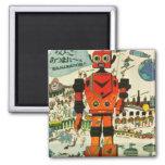 Retro Asian Robot Print Art 2 Inch Square Magnet