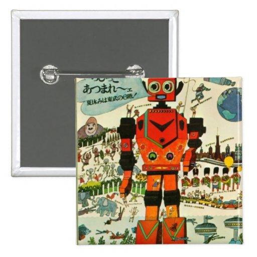 Retro Asian Robot Print Art Buttons