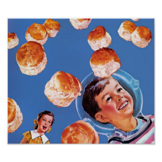 Retro Astronaut Boy Biscuits Poster