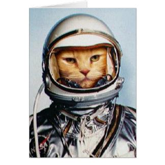 Retro Astronaut Cat Card