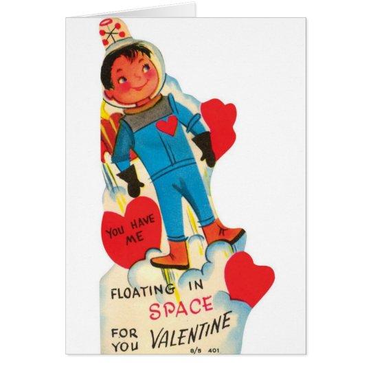 Retro Astronaut In Space Valentine's Day Card